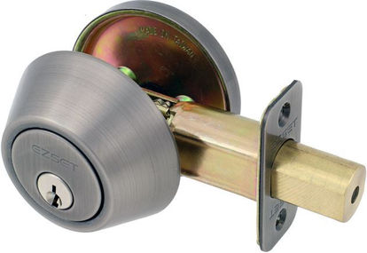 Picture of Ezset Single Cylinder Deadbolt Satin Antique Brass