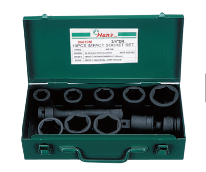 Picture of Hans 10 Pcs. Impact Socket Set - MODEL NO. 86610A - Inches Size