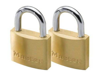 Picture of Master Lock 40MM Hard Steel Shackle, 2 Pieces Key-Alike Brass Padlock, MSP1902T
