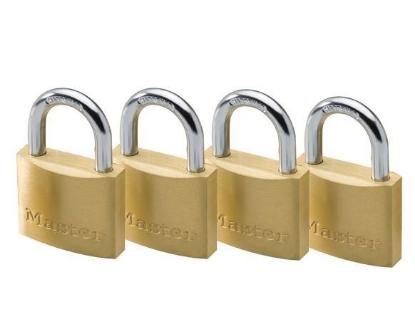 Picture of Master Lock 40MM Hrad Steel Shackle, 4 Pieces Key-Alike Brass Padlock, MSP1902Q