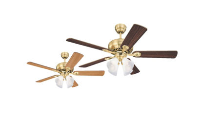 "Picture of Westinghouse Ceiling fan Swirl, 5-blade 52"" Satin Brass Finish"