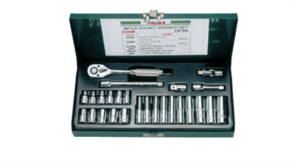 "Picture of Hans 1/4"" Drive 12 Points 26 Pcs. Socket Wrench Set - Inches Size"
