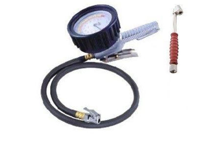 "Picture of THB 4"" Dial Inflator Gauge 0-200psi w/36"" Hose"