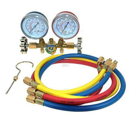 "Picture of Asian First Brand CT-536G Brass Manifold Gauge For R-12 With Sight Glass & 36"" Hose"