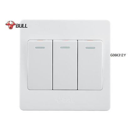 Picture of Bull 3 Gang 3 Way Switch Set (White), G06K312Y