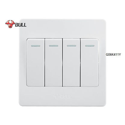 Picture of Bull 4 Gang 1 Way Switch Set (White), G06K411Y