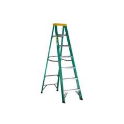 Picture of Jinmao 6 Step Fiberglass 7' Step Ladder 225 lbs  Green, JMFM22106II
