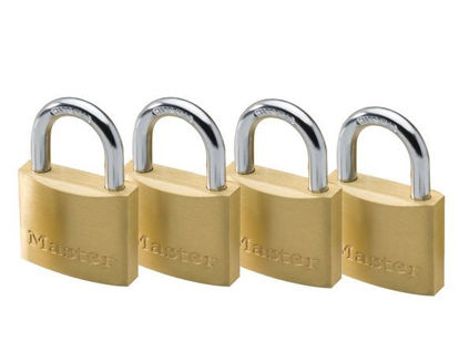Picture of Master Lock 30MM Hard Steel Shackle, 4 Pieces Key-Alike Brass Padlock, MSP1901Q