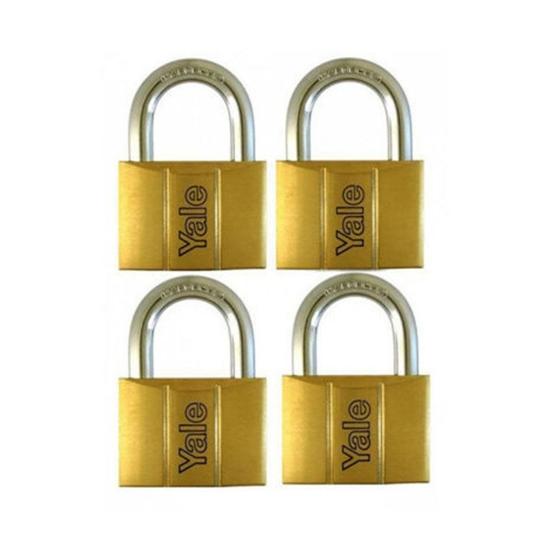Picture of Yale V140.30 KA4, Standard Shackle Brass Padlocks 140 Series Key Alike 4, V14030KA4