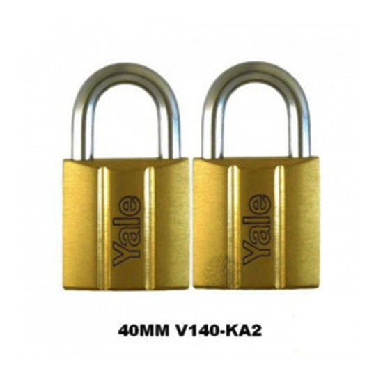 Picture of Yale V140.40 KA2, Standard Shackle Brass Padlocks 140 Series Key Alike 2, V14040KA2