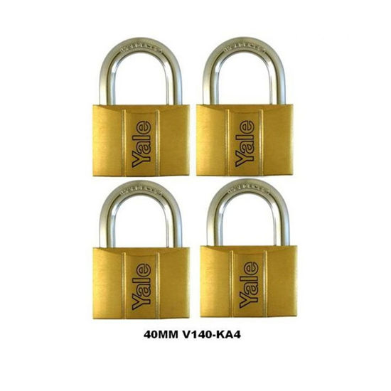 Picture of Yale V140.40 KA4, Standard Shackle Brass Padlocks 140 Series Key Alike 4, V14040KA4