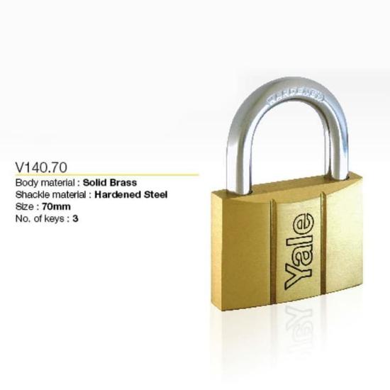 Picture of Yale V14070, Brass Padlock 70mm, V14070