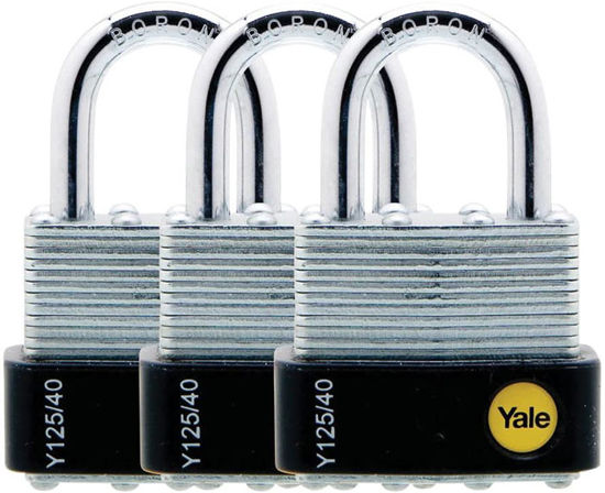 Picture of Yale Y125/40/122/3, Laminated Padlock 40mm, Pack of 3, Y125401223