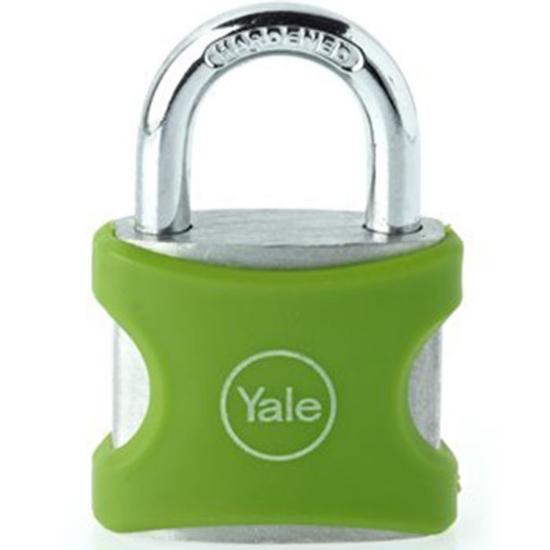 Picture of Yale YE3/25/112/1/G, PVC Wrapped Aluminum Body Padlock, Green, YE3251121G