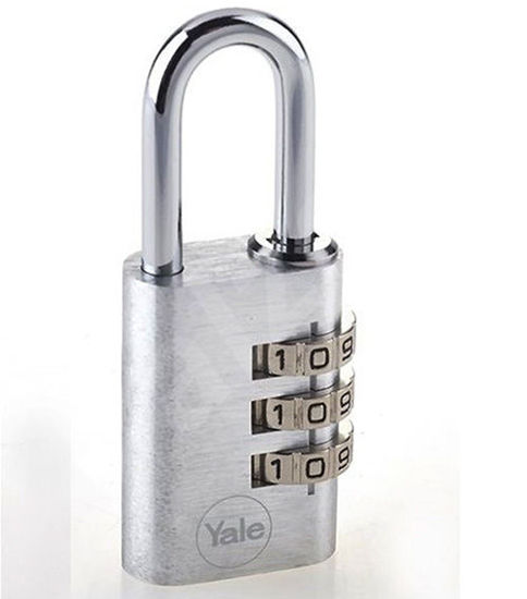 Picture of Yale YE3C/20/121/2/S, Aluminum Combination Padlock, Silver, YE3C201212S
